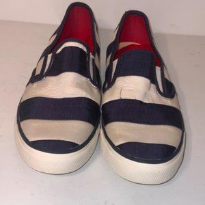 Sperry Shoes - Sperry 10 Seaside Navy Striped Sneakers